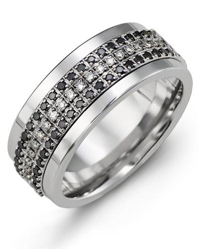 2a495224f9bd4 Men's Trio Eternity Black White Diamond Wedding Ring
